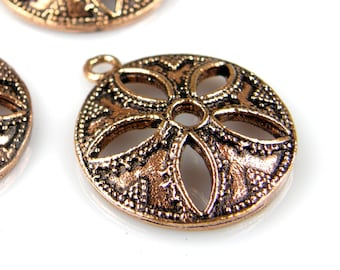 Copper Charms, Pendants, Medallions, (2) Beads, Jewelry Making Findings (2) P0007