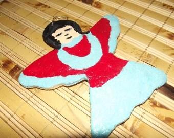 Bread Dough - Salt Dough Ornament - Angel - Primitive Folk Art Angel for your Christmas Tree
