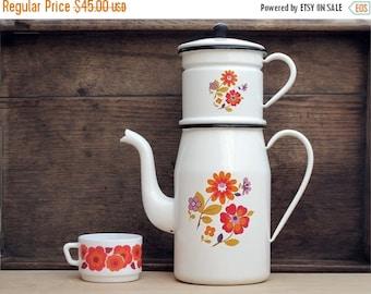 Mid century mordern Enamel Coffee Pot,white enamelware coffee pot,enamel flowers, scandinavian flowers