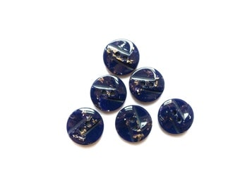 8 Navy Blue & Gold Button, Vintage Buttons, Plastic, French Buttons