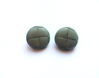 2 Almond Green Vintage Shank Plastic Buttons, 22mm