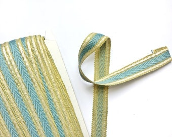 Vintage Blue, Ivory & Gold Yellow Trim