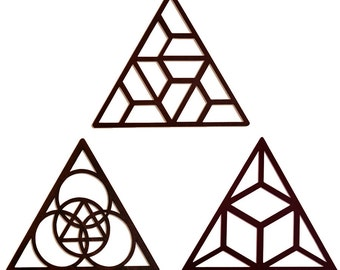 3 Triangles Wall Art - Brown Wood Home Decor