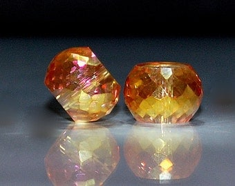 4 pcs 12x9mm Bright Gold with Firepolished Fuchsia Highlights Multi-Faceted Rondelle Crystal Beads