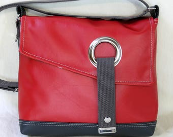Stella Crossbody messenger bag, courier bag, commuter bag in Cherry Red and Black