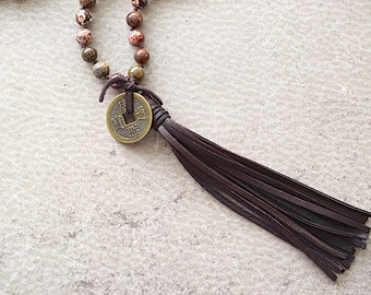 Leopard Jasper Knotted Beads / Brown Deerskin Tassel / Ancient Chinese Coin Necklace