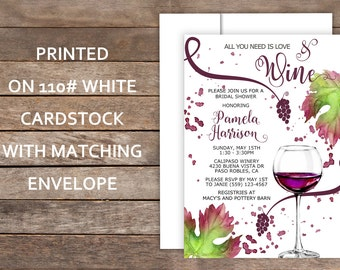 Wine Theme Bridal Shower, Wine Glass, Vineyard Bridal Shower Invitation, Brown Kraft, Vineyard, Grapes, Wine Tasting
