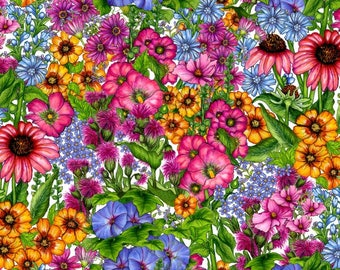Prairie Gate - Large Allover Floral, Packed Flowers