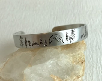 Mountain Sunset Cuff Bracelet, hand stamped aluminum silver trees range sunrise adjustable tree mountains hiking unisex gift gifts for her