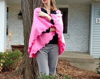 Hot Pink Fleece Circular Vest - Fanciful Frilly Edge