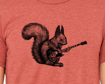 Mens squirrel playing guitar shirt- tri blend clay- s, m, l, xl, xxl- worldwide shipping