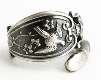 Rare Bird Ring, Silver Victorian Ring, Antique Sterling Silver Spoon Ring, Small Animal Ring, Handcrafted Ring, Adjustable Ring Size (6372)