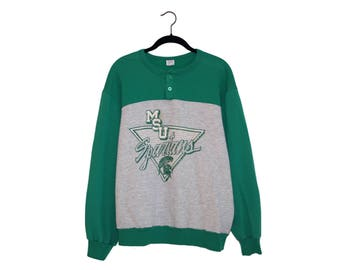 Vintage Michigan State Spartans Football Champion Green & Heather Gray Super Soft 50/50 Poly-Cotton Blend Sweatshirt, Made in USA - XL