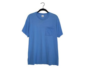 Vintage Faded Light Blue Blank Fruit of The Loom 50/50 Poly-Cotton Blend Pocket T-Shirt, Made in USA - XL
