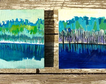 Trees, ORIGINAL PAINTING, two paintings together, blue phase, new england marsh, acrylic painting, painting of trees, blue painting