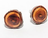 Wooden cufflinks plum