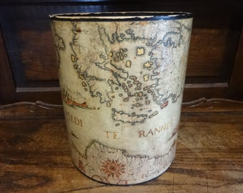 Vintage French wooden old map waste paper office bin circa 1950-60's / English Shop