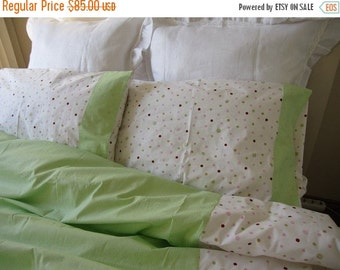 clearance sale Twin XL duvet cover with pillow cover, Pistachio green Pink polka dot romantic,Shabby chic bedding - Dorm room girl bedding b