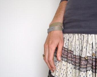 grey on grey leather bracelet - gypsy festival bracelet made of genuine leather - grey minimal leather wrap bracelet - gift for her
