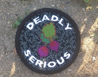 MADE TO ORDER Beets Are Deadly Serious handmade Tom Robbins patch, iron on, Jitterbug Perfume, hippie, boho, bookworm, upcycled, recycled