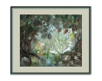 Wedding gift idea, pair of birds, green forest landscape, mixed painting, fairytale, enchanted forest, rainy, eco print, Bistra Sirin's Art