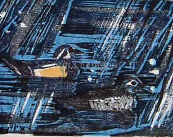 Wood Ducks in Snow onWissahickon Reduction Woodcut