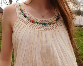Vintage Gauze Crochet Tank Top From Ecuador, Boho Fashion, Festival Top