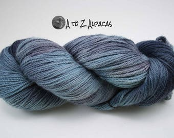 Hand Dyed Pure Alpaca Yarn Worsted Weight - Under the Sea
