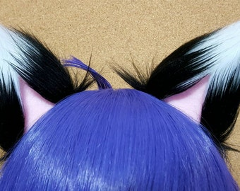 Black with White Tips and Light Pink Clip on Fox Ears