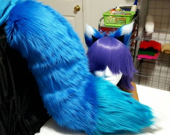 LIMITED EDITION Three Tone Cobalt and Aqua Blue Fox Tail with White Tip and Matching Ears Set