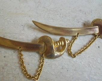 vintage sword brooch, brass swords, figural brooch, saber brooch, matching brooches