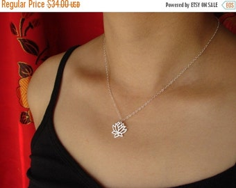 SALE - Gift Necklace Lotus Necklace in Sterling Silver Mother's Day Gifts lotus flower lotus jewelry lotus charm lotus pendant holiday gift