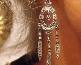 Sterling Marcasite earrings Edwardian Marcasite dangle earrings  1910 Revival