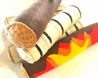 Felt toy campfire logs with flaming log