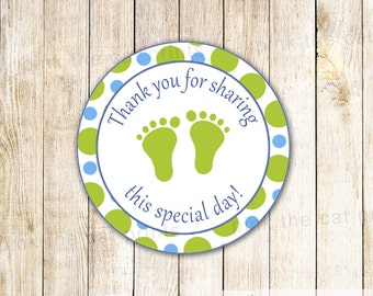 Green Blue Baby Shower Thank You Labels Green Blue Baby Boy Sprinkle Favor Tags Polka Dots Baby Shower Favors Party Favors Printable Labels