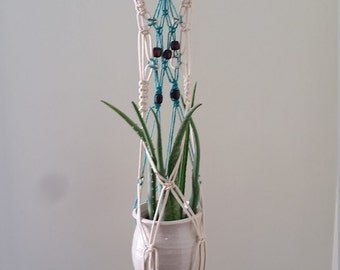 Macrame wall hanging with  plant pot hanger beachy boho perfect for airplants or succulents 3 feet long