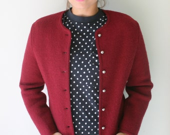 Vintage CRANBERRY Mid Century Cardigan Sweater....size small. designer. knit. retro. mod. burgundy sweater. gold buttons. nautical. preppy