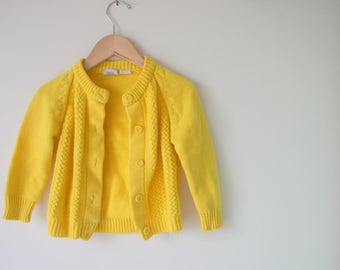 Vintage YELLOW Sweater..size 3 4 girls...knit. sweater. bright. cardigan. kitsch. retro kids. 1970s. pretty me. school girl. fall. winter