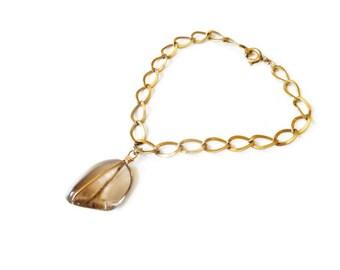 Vintage Smoky Brown Rock Crystal Gold Tone Charm Bracelet
