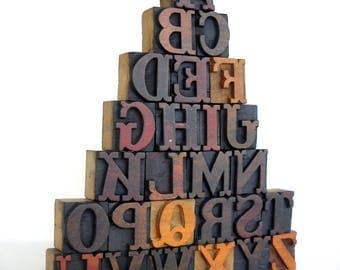 25% OFF -A to Z - Vintage Letterpress Wood Type Collection - VG01