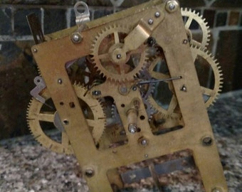 Antique Brass Clock Works and Gears From Grandfather Clock - Eingraham Co.