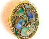 MOM SALE Raw fiery opal ring