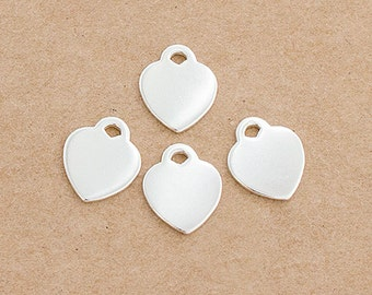4 of 925 Sterling Silver Heart Charms 10x12mm. :tk0095