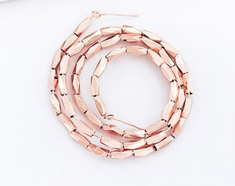 50 of Karen hill tribe Rose Gold Vermeil Style Faceted Beads 1.5x4 mm. 8.5 inches  :pg0334