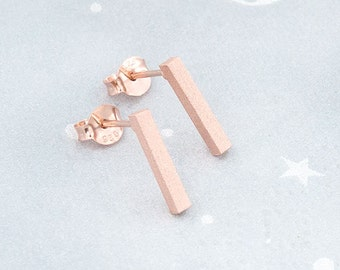 1 Pair of 925 Sterling Silver Rose Gold Vermeil Style Rectangle Stick Stud Earrings. 2x12 mm. Matte Finished  :pg0433