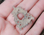 Antique brass filigree charm, earring, pendant, connector, finding, dark patina
