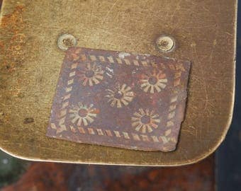 Antique brass plate, connector, embellishment, finding, floral