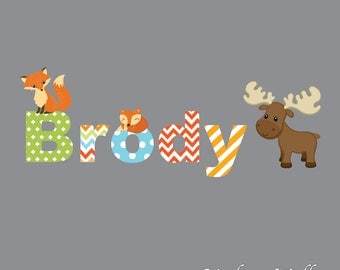 Name Decal with Foxes, Moose-Children's Vinyl Wall Decals-Wall Stickers-Pattern Letters-Forest Animals-Woodland-Fox