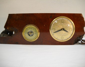 Vintage Lanshire Electric Clock And Barometer In Wood Setting
