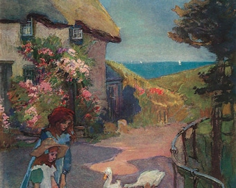 Landewednack Cornwall English Country Cottage by Elizabeth Forbes, Antique British 1906 8x11 Color Book Print Art, FREE SHIPPING